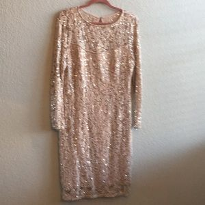 Elegant Dusty Rose and Sequin cocktail dress sz 16